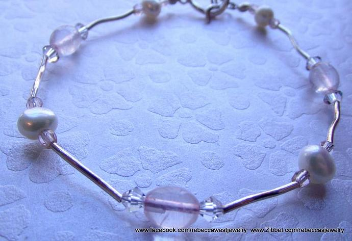 True Love Rose Quartz Bracelet ~ Rose Quartz, Fresh Water Pearls, Sterling