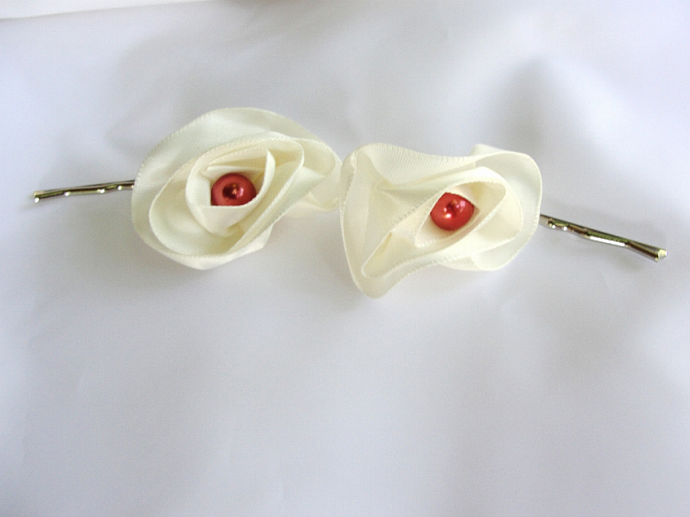 Set of Two Satin Rose Hairpins