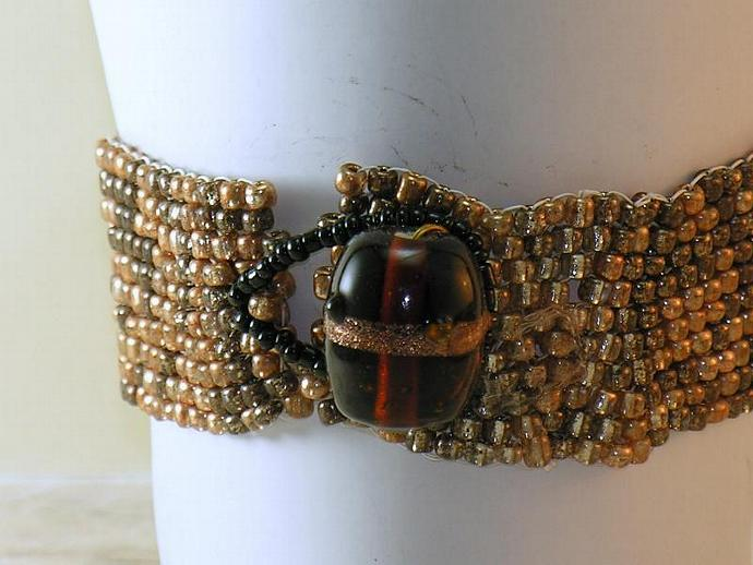Brown and Copper Beadwork Bracelet