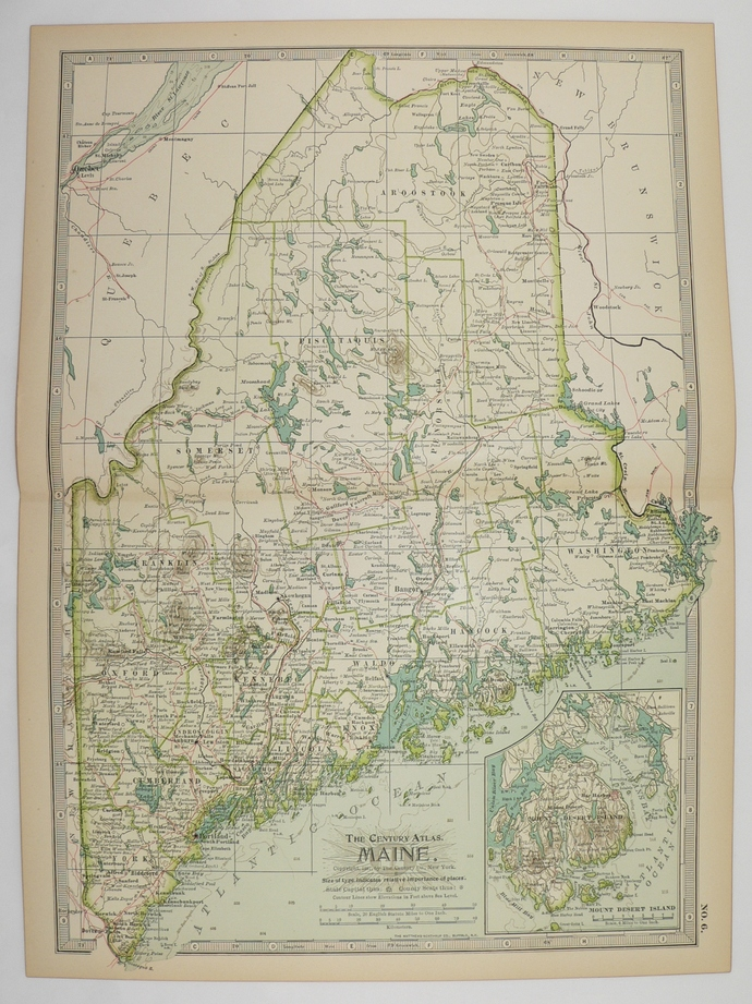 Maine Real 1899 Antique State Map | Old Maps and Prints