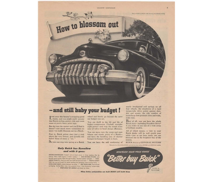 Vintage Print AD Advertising 1950 Buick Car Automobile