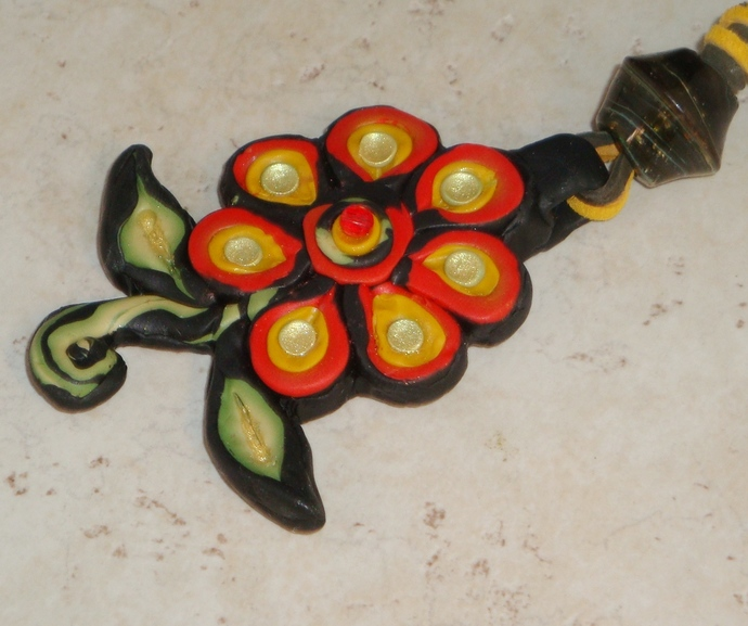 Bright Flower Polymer Clay Necklace