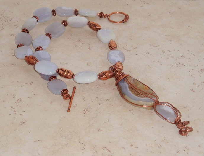 Chalcedony and Copper Necklace