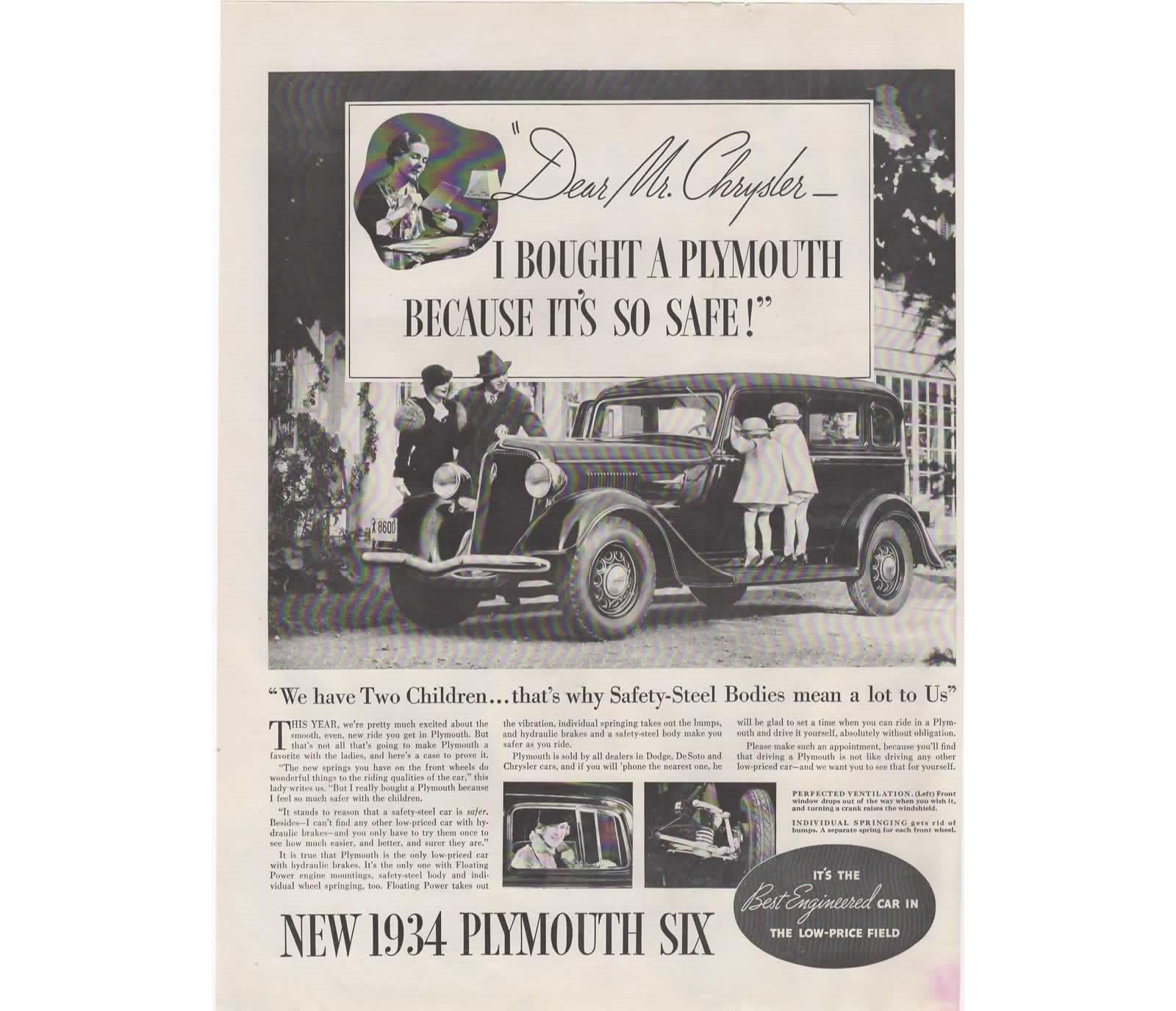 1934 Plymouth Ad Vintage Six Car Advertisement, Man Cave Decor