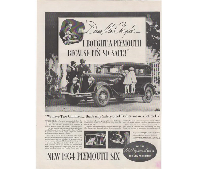 1934 Plymouth Ad Vintage Six Car Advertisement, Man Cave Decor