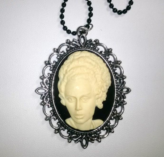 Bride of Frankenstein Cameo in Silver Pendant Setting