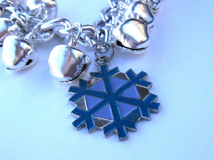 Silver snowflake bracelet with bells - 8 inches long