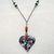 Opaque Murano Millefiori Heart Pendant with Beaded Heart-link Necklace