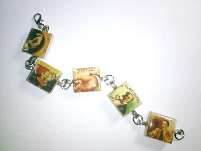 Vintage Smoking Gents Scrabble Tile Bracelet