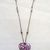 Pink & White Millifiori Glass Heart Pendant with CZ and Beaded Heart-link