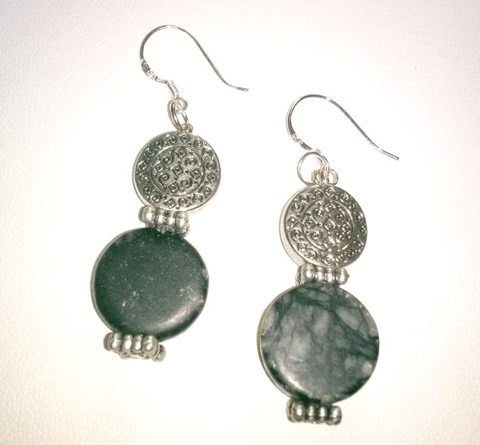 Stone and Silver Earrings