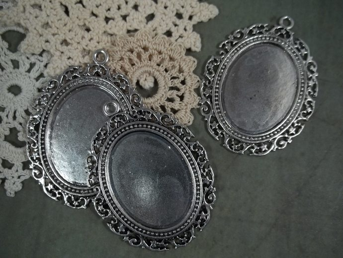 Large Antique Silver Cameo Frames (Item #F553-S)