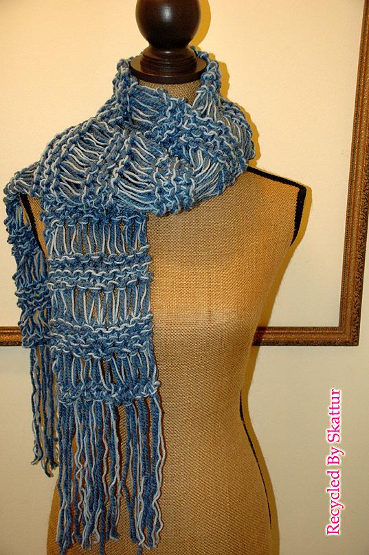 Denim Blue Chunky Hand Knit Scarf Long Fringe / Handmade Accessories Scarf Knit