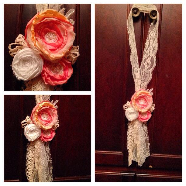 Hanging Wedding Decor Chair Tie Fabric Sunshower Flowers
