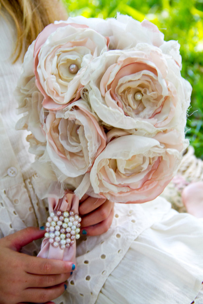 Pink ivory fabric flower bouquet rose sunshower flowers pink ivory fabric flower bouquet rose beaded pearl bridal bouquet bride up mightylinksfo