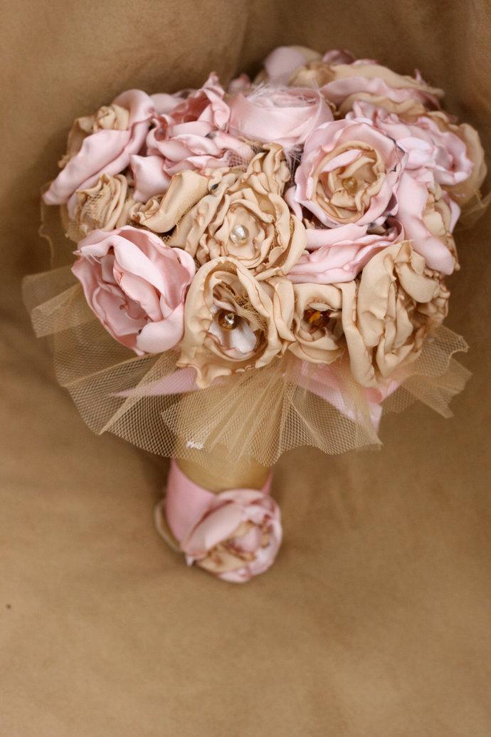 Pink gold fabric flower bouquet | Sunshower Flowers