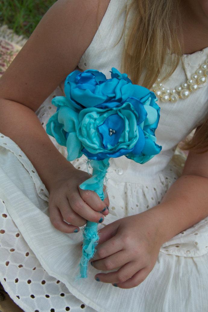 turquoise tiffany blue fabric flower | Sunshower Flowers