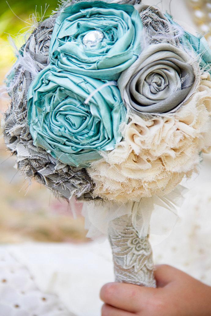 Tiffany Blue silver cream fabric flower | Sunshower Flowers