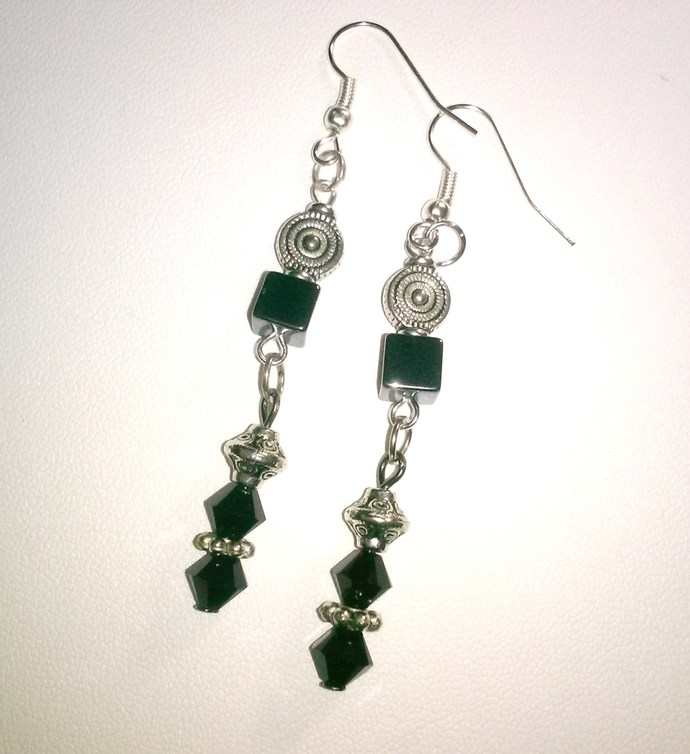 Jet Crystal and Hematite Earrings