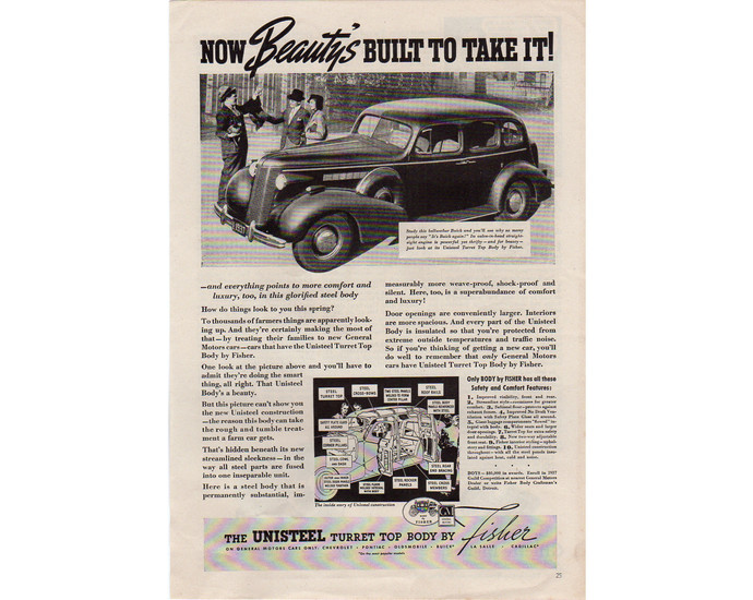 Bellweather BUICK Car Automobile Vintage 1937 Ad Advertising - Man Cave Decor
