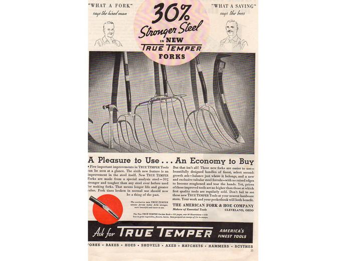 True Temper Tools 1930s Ad Advertising Pitchfork,  Vintage Mancave Decor, Farm