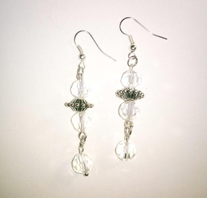 Tibetan Silver and Crystal Earrings