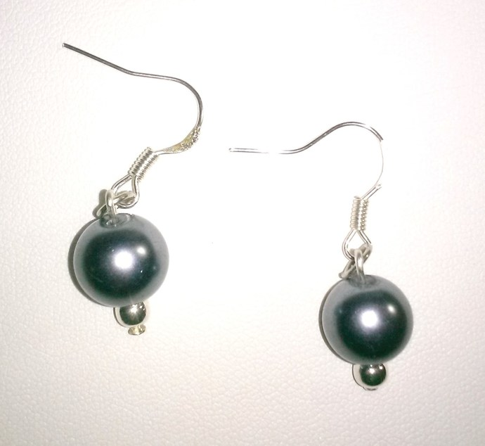 Minimalist Grey Faux Pearl Earrings
