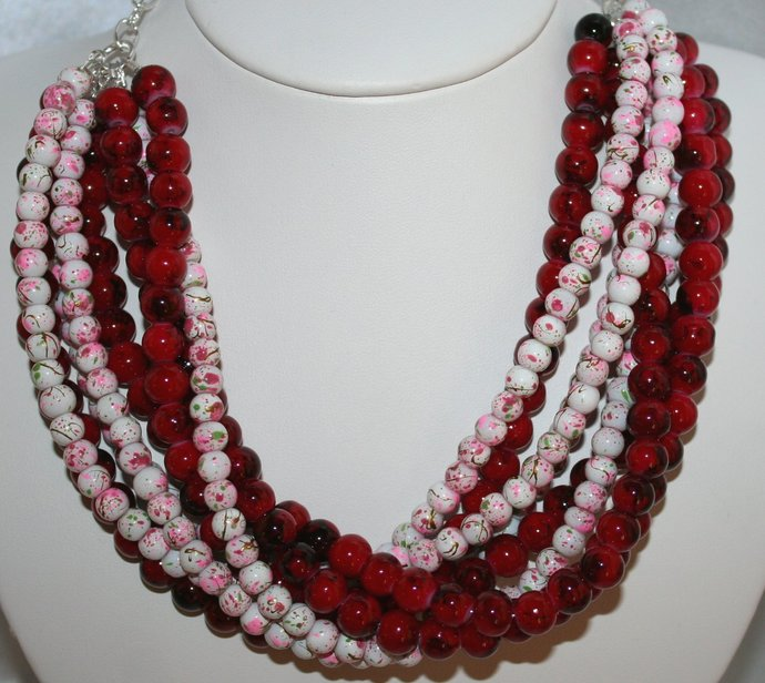 Red Beach Wedding Statement Necklace, Red and White Beaded Jewelry, Big Bold