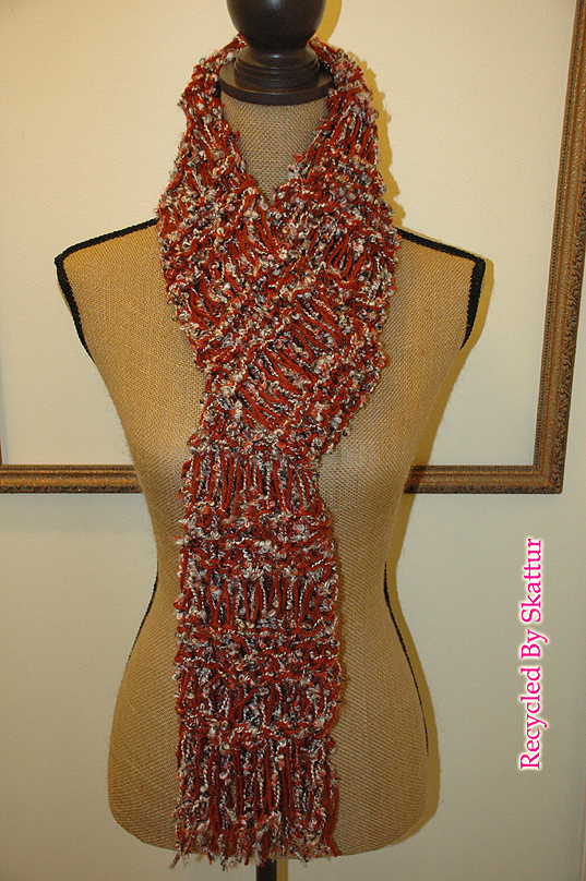 Burnt Orange White Black Very Long Knit Scarf / Handmade Accessories Scarf Knit
