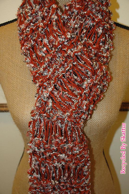 Burnt Orange White Black Very Long Knit Scarf / Handmade Accessories Scarf Knit