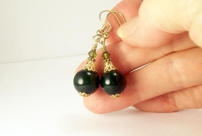 Quartz Gemstone and Crystal Earrings, Dark Green Earrings