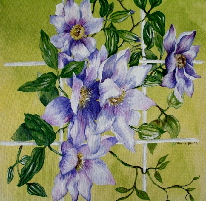 Flowers On Trellis Painting, original, fine art, botanical, realism, garden,