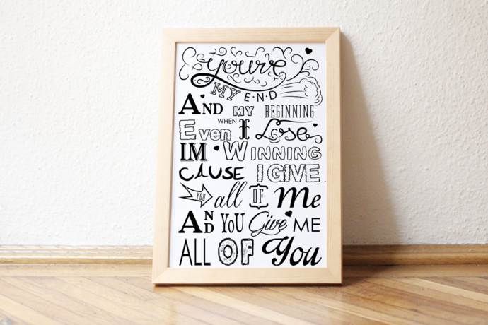 John Legend song lyrics- All of me poster a3 by pendantsworld on