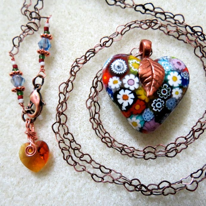Murano Millefiori Multi-colored Fused Glass Heart Necklace on Copper Heart-link