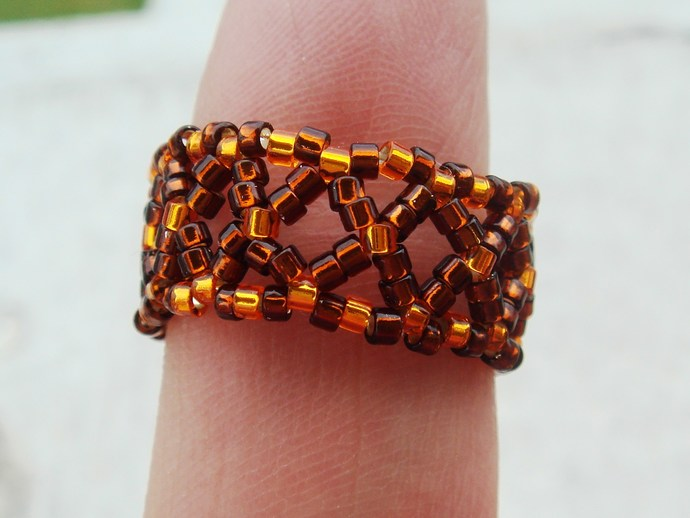 Brown & Orange Beaded Ring Size 7