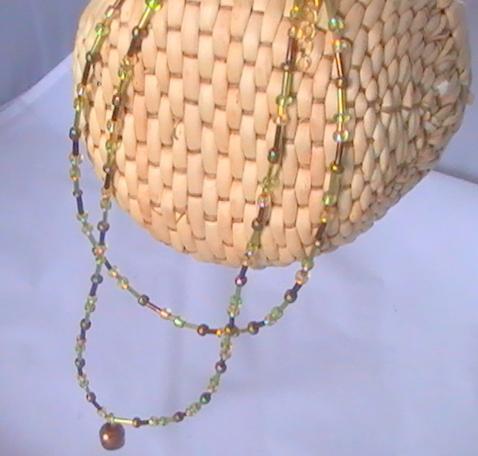 Multi Strand Autumn Necklace with 1.5 inch extension chain with Copper bead