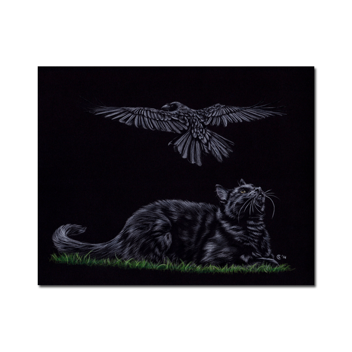 CAT and CROW 21 raven black bird chat noir kitty kitten painting Sandrine