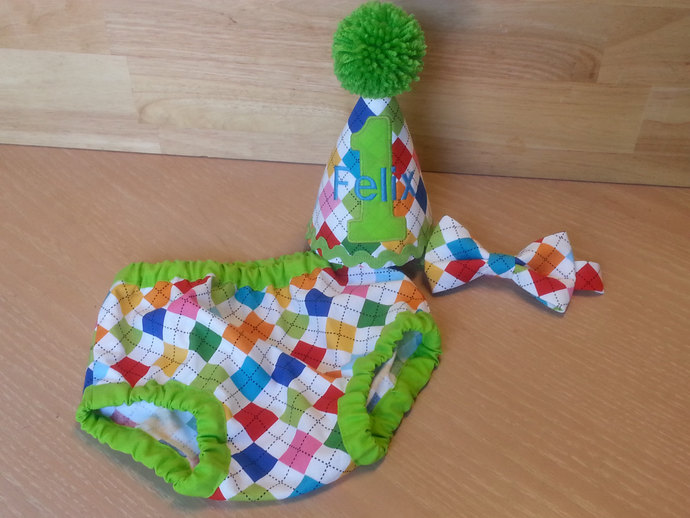 Smash The Cake 1st Birthday Tie Diaper Cover And Party Hat Set Baby