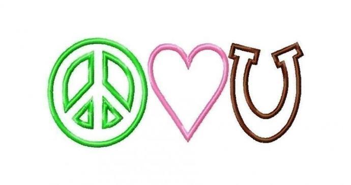 Peace Love Horseshoe applique machine embroidery design