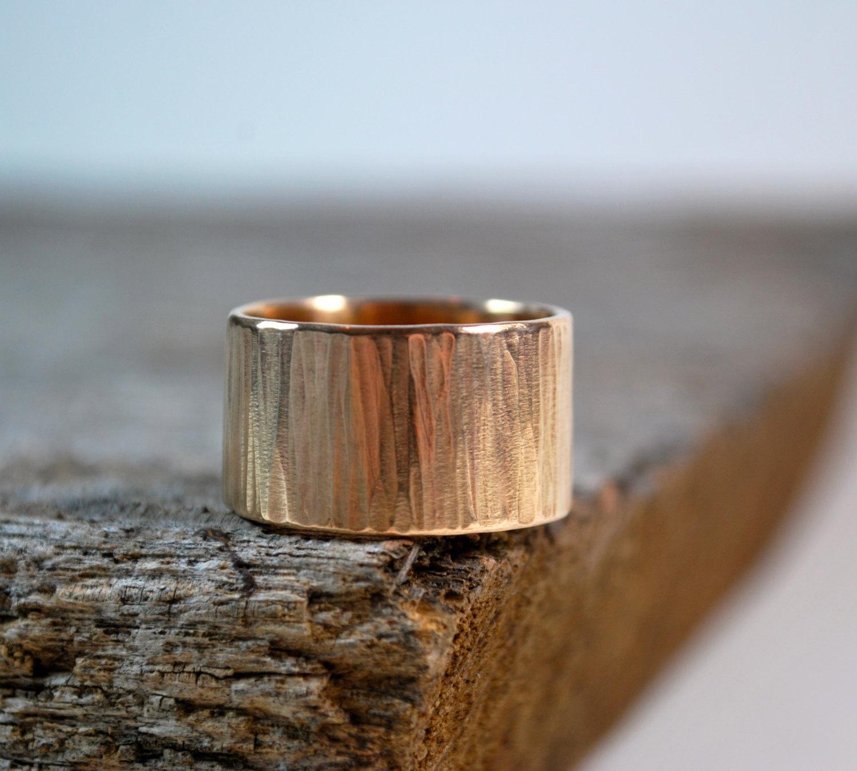 Mens Wedding Band Tree Bark Wedding Ring 14K UrbanJule