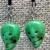 Porcupine and Ceramic Green Skull Earrings