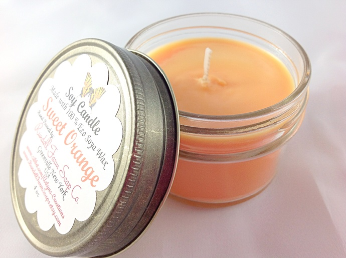 Sweet Orange candle,4 oz , Eco Soya,hand poured,scented candle,soy candles