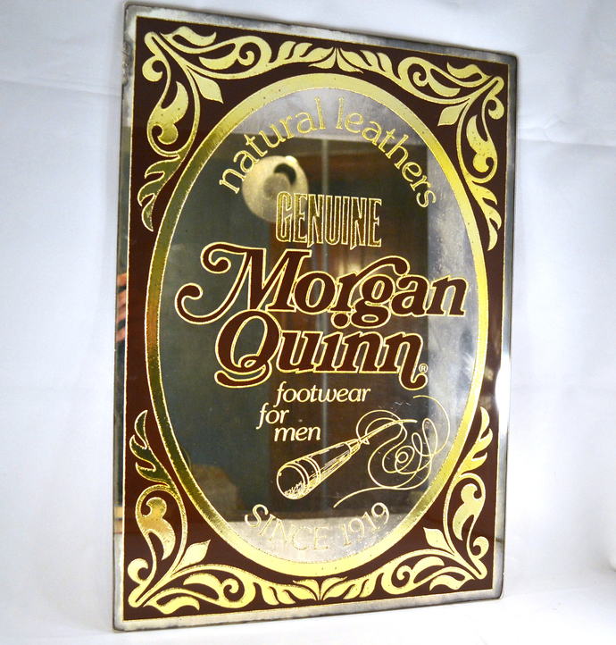 Morgan Quinn Shoe Advertising Mirror Vintage Store Sign 1980s, Man Cave Decor,