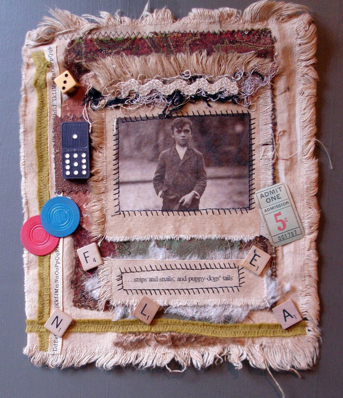 Collaged Fabric Wallhanging - Mixed Media - Snips 'n Snails - OOAK - Vintage