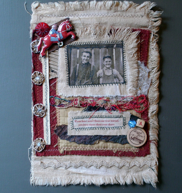 Collaged Fabric Wallhanging - Mixed Media - True Friends - OOAK - Vintage Style