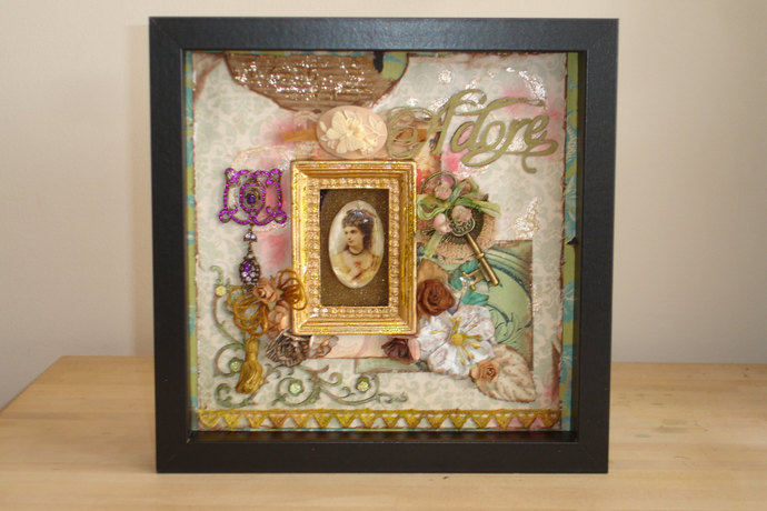 Mixed Media Vintage Style Art Collage in Shadowbox OOAK