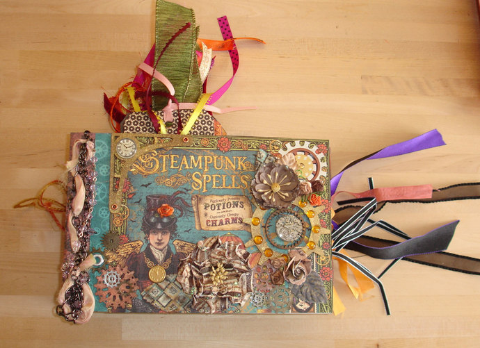 Elegant Handmade Steampunk Halloween Photo/Memory Album OOAK