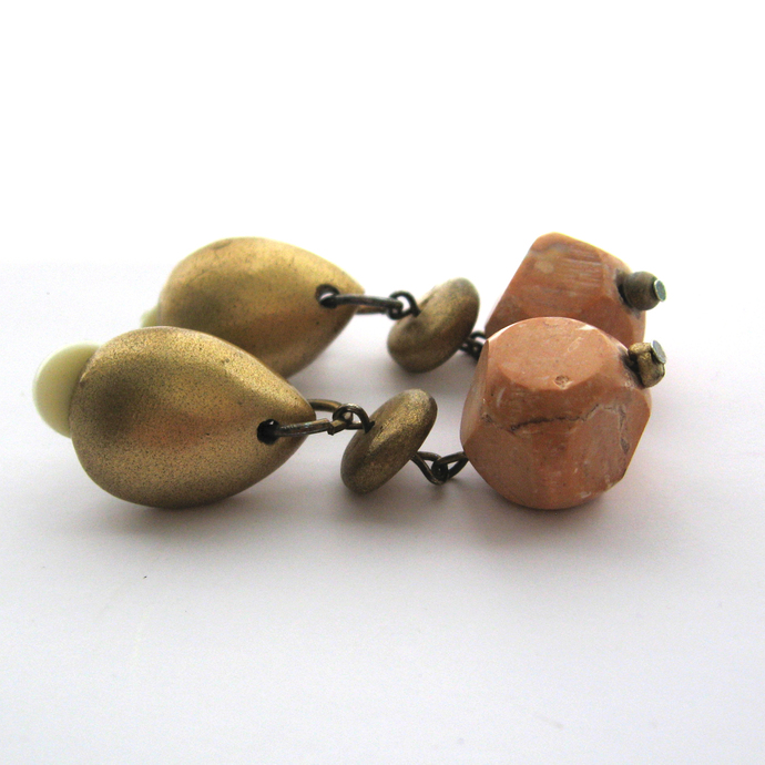 Vintaage Stone Nugget and Gold Metallic Wood Bead Drop Earrings Clip on