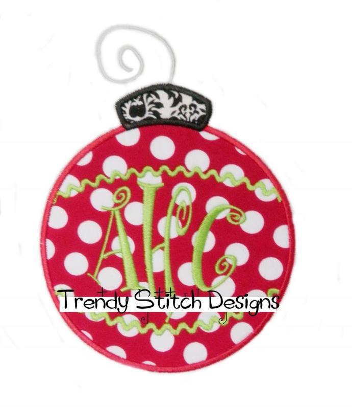 Christmas Ornament Applique Machine Embroidery Design INSTANT DOWNLOAD