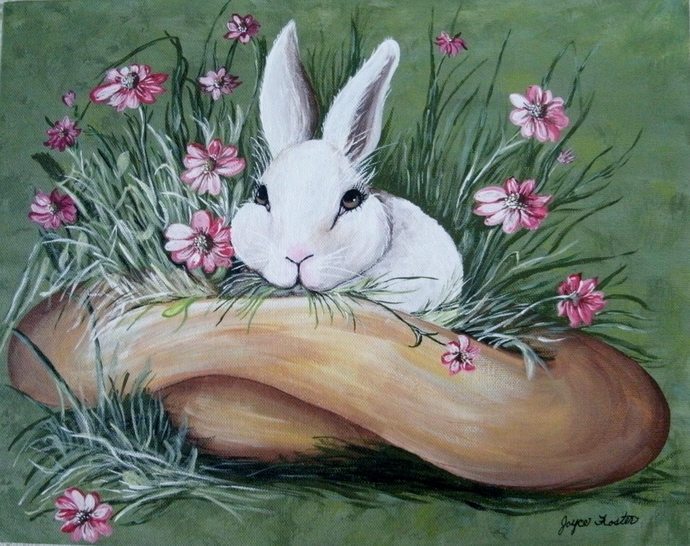 Spring Bunny Painting, original fine art, acrylic, animal, realism, cottage